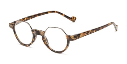 Angle of The Piccadilly in Brown Tortoise, Women's and Men's Round Reading Glasses