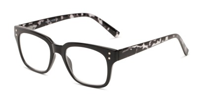 Angle of The Quad in Black/Grey Tortoise, Women's and Men's Retro Square Reading Glasses