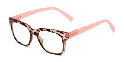 Angle of The Quad in Pink Tortoise, Women's and Men's Retro Square Reading Glasses