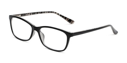 Angle of The Rachel in Black/Zebra, Women's Square Reading Glasses