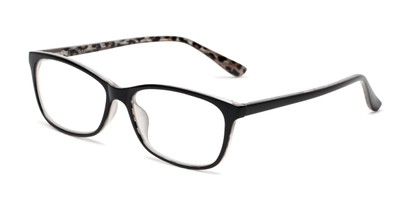 Angle of The Rachel in Black/Leopard, Women's Square Reading Glasses