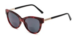Angle of The Rhonda Bifocal Reading Sunglasses in Red Tortoise/Gold with Smoke, Women's Cat Eye Reading Sunglasses