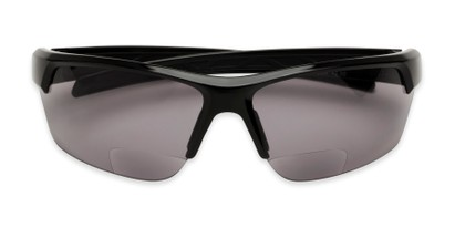 Folded of The Shade Bifocal Safety Reading Sunglasses in Black with Smoke Lenses