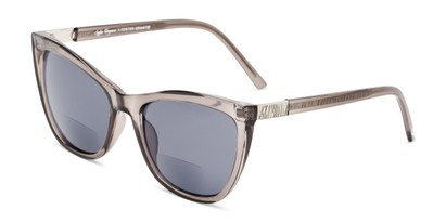 Angle of The Sofia Sun in Grey, Women's Cat Eye Reading Sunglasses