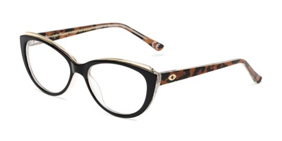 Angle of The Sofia in Black/Leopard, Women's Cat Eye Reading Glasses