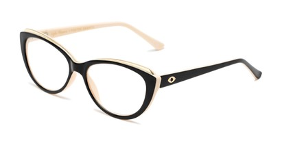 Angle of The Sofia in Black/Tan, Women's Cat Eye Reading Glasses