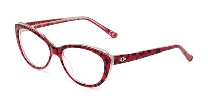 Angle of The Sofia in Red/Leopard, Women's Cat Eye Reading Glasses