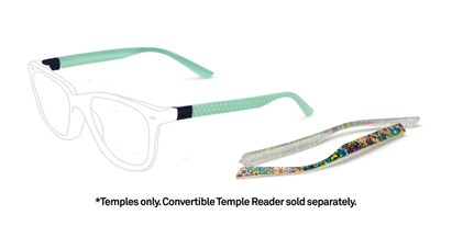 Front of The Floral & Dot 2-Set Convertible Temple Add-On Pack in Green Floral & Mint Polka Dots