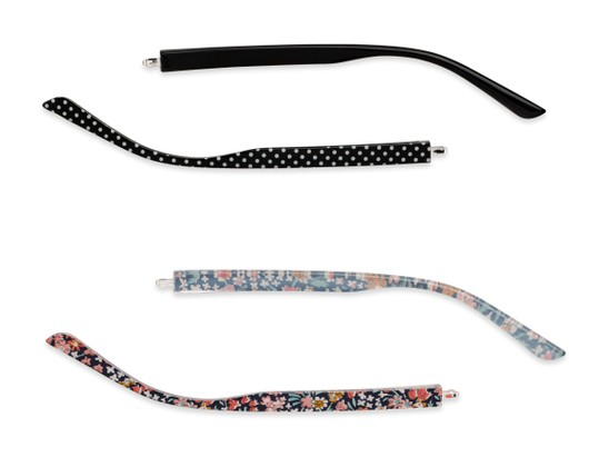 Front of The Floral & Dot 2-Set Convertible Temple Add-On Pack in Blue Floral & Black Polka Dots