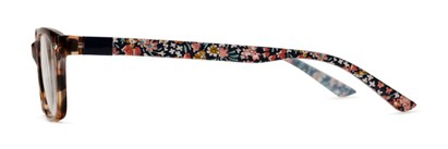 Side of The Floral & Dot 2-Set Convertible Temple Add-On Pack in Blue Floral & Black Polka Dots