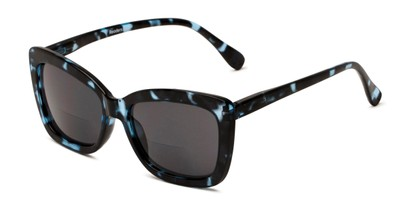 Angle of The Stacey Bifocal Reading Sunglasses in Blue Tortoise/ Smoke, Women's Cat Eye Reading Sunglasses