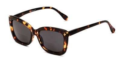 Angle of The Stacey Bifocal Reading Sunglasses in Brown Tortoise/ Smoke, Women's Cat Eye Reading Sunglasses