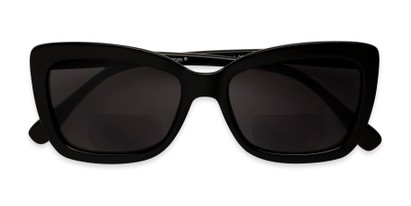 Folded of The Stacey Bifocal Reading Sunglasses in Black/ Smoke