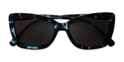 Folded of The Stacey Bifocal Reading Sunglasses in Blue Tortoise/ Smoke