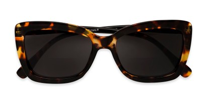 Folded of The Stacey Bifocal Reading Sunglasses in Brown Tortoise/ Smoke