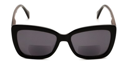 Front of The Stacey Bifocal Reading Sunglasses in Black/ Smoke