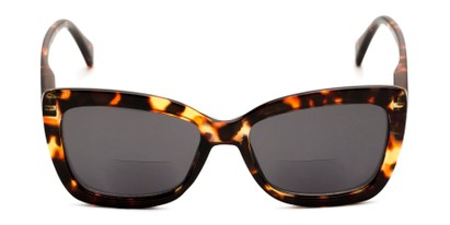 Front of The Stacey Bifocal Reading Sunglasses in Brown Tortoise/ Smoke