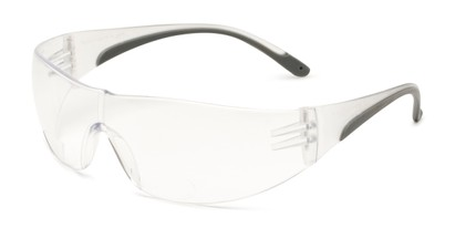 Angle of The Stratus Bifocal Safety Reader in Clear/Grey with Clear Lens, Women's and Men's Sport & Wrap-Around Reading Glasses