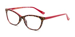 Angle of The Teresa in Leopard/Red, Women's Cat Eye Reading Glasses
