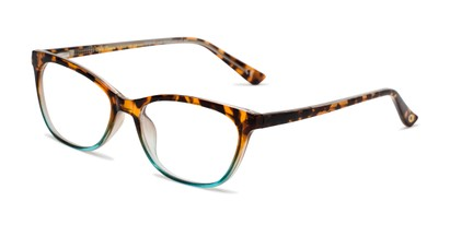 Angle of The Teresa in Tortoise/Aqua, Women's Cat Eye Reading Glasses