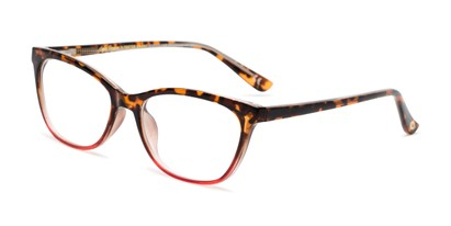Angle of The Teresa in Tortoise/Red, Women's Cat Eye Reading Glasses