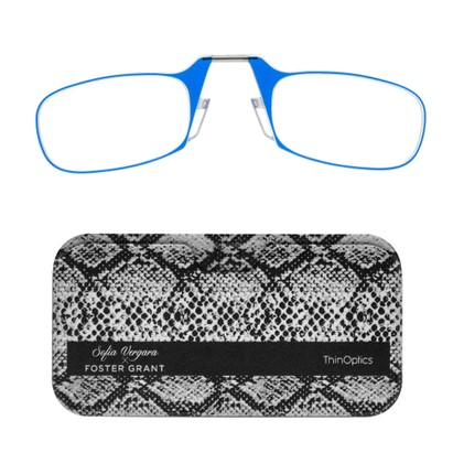 Angle of ThinOptics in Sapphire Blue, Women's Oval Reading Glasses