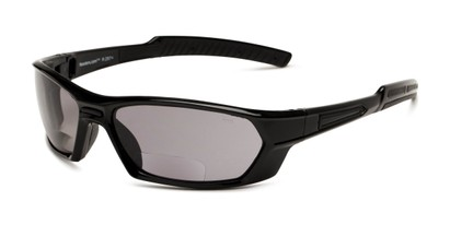 Angle of The Tinted Bifocal Safety Goggles in Black with Smoke Lenses, Women's and Men's Sport & Wrap-Around Reading Sunglasses