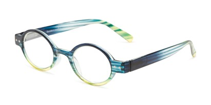 Angle of The Visionary in Green Stripe, Women's and Men's Round Reading Glasses