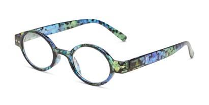 Angle of The Visionary in Blue Tortoise, Women's and Men's Round Reading Glasses