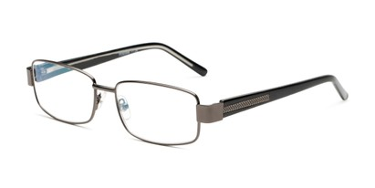 Angle of The Wes Multi Focus Reader by Foster Grant in Gunmetal Grey, Men's Rectangle Reading Glasses