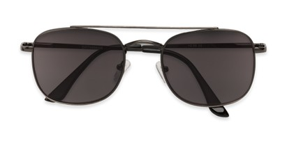 Folded of The Whitford Reading Sunglasses in Matte Dark Silver with Smoke