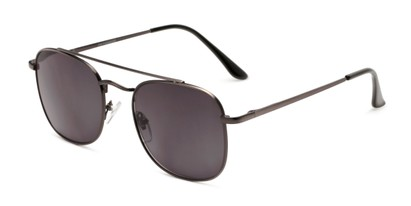 Angle of The Whitford Reading Sunglasses in Matte Dark Silver with Smoke, Men's Aviator Reading Sunglasses