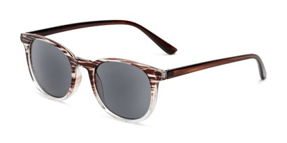 Angle of The Woodstock Reading Sunglasses in Brown/Clear Stripe Fade with Smoke, Women's and Men's Round Reading Sunglasses