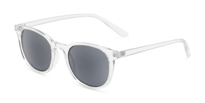 Angle of The Woodstock Reading Sunglasses in Clear with Smoke, Women's and Men's Round Reading Sunglasses