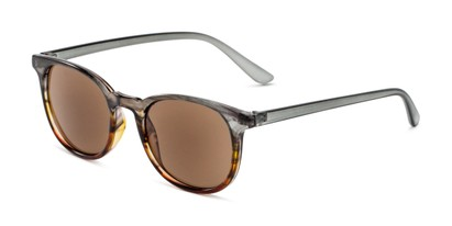 Angle of The Woodstock Reading Sunglasses in Green/Brown Fade with Amber, Women's and Men's Round Reading Sunglasses