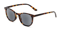 Angle of The Woodstock Reading Sunglasses in Brown Tortoise with Smoke, Women's and Men's Round Reading Sunglasses