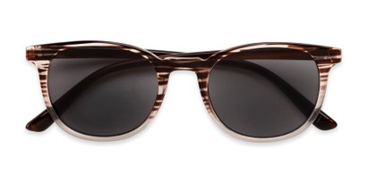 Folded of The Woodstock Reading Sunglasses in Brown/Clear Stripe Fade with Smoke