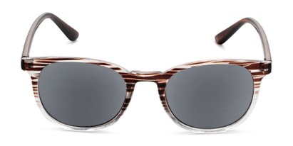 Front of The Woodstock Reading Sunglasses in Brown/Clear Stripe Fade with Smoke