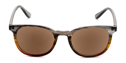 Front of The Woodstock Reading Sunglasses in Green/Brown Fade with Amber