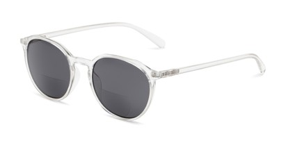 Angle of The Wyatt Bifocal Reading Sunglasses in Clear with Smoke Lenses, Women's and Men's Round Reading Sunglasses