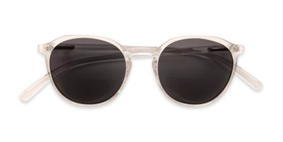 Folded of The Wyatt Bifocal Reading Sunglasses in Clear with Smoke Lenses