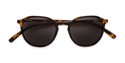 Folded of The Wyatt Bifocal Reading Sunglasses in Brown Tortoise with Smoke Lenses