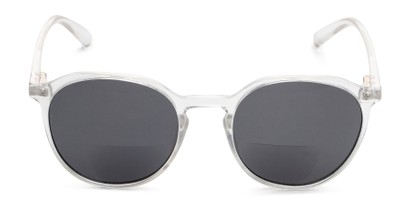 Front of The Wyatt Bifocal Reading Sunglasses in Clear with Smoke Lenses