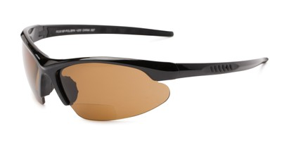 Angle of The Radley Polarized Bifocal Reading Sunglasses in Black with Amber, Women's and Men's Sport & Wrap-Around Reading Sunglasses