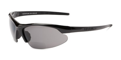 Angle of The Radley Polarized Bifocal Reading Sunglasses in Black with Smoke, Women's and Men's Sport & Wrap-Around Reading Sunglasses