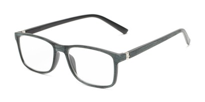 Angle of The Randall in Blue Wood Print, Men's Rectangle Reading Glasses