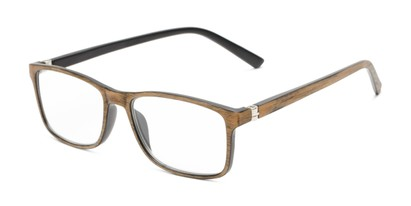 Angle of The Randall in Tan Wood Print, Men's Rectangle Reading Glasses