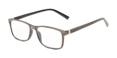 Angle of The Randall in Brown Wood Print, Men's Rectangle Reading Glasses