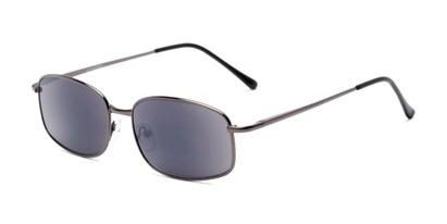 Angle of The Randy Reading Sunglasses in Glossy Grey with Smoke, Men's Rectangle Reading Sunglasses