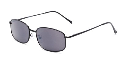 Angle of The Randy Reading Sunglasses in Matte Black with Smoke, Men's Rectangle Reading Sunglasses